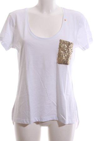 Gas T-Shirt weiß-goldfarben Casual-Look