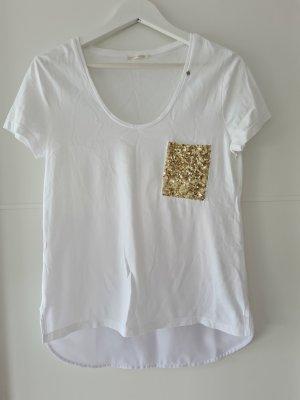 Gas Camiseta blanco-color oro