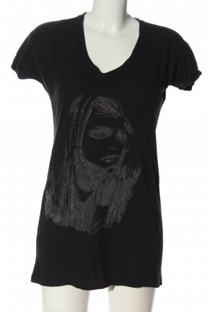 Gas T-shirt col en V blanc imprimé avec thème style décontracté