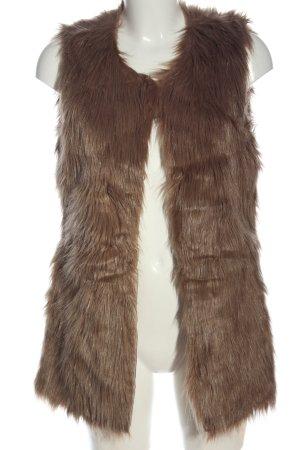 gate woman Chaleco de piel sintética marrón look casual