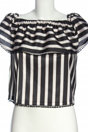 Gaudi Carmen Blouse black-white striped pattern casual look