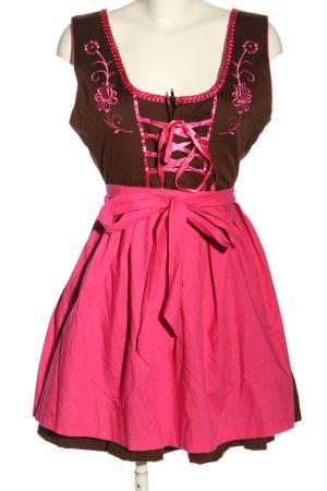 Gaudi Dirndl brązowy-różowy Elegancki