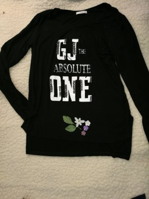 Gaudi Jeans Longsleeve Longshirt Langarmshirt Herbstshirt Übergangsshirt schwarz Print Motivdruck mit Perlen 40