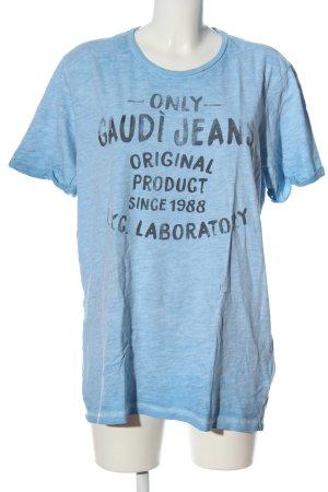 Gaudi Jeans Print-Shirt türkis-hellgrau meliert Casual-Look