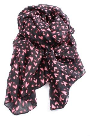 Gaudi Jeans Gebreide sjaal zwart-roze volledige print casual uitstraling