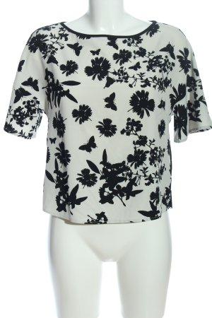 Gaudi Kurzarm-Bluse weiß-schwarz abstraktes Muster Casual-Look