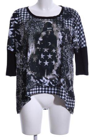 Gaudi Print-Shirt schwarz-weiß Motivdruck Casual-Look