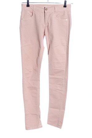Gaudi Stretchhose weiß-pink Punktemuster Casual-Look