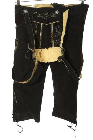 Gaudi Pantalon traditionnel en cuir noir-crème motif abstrait style classique