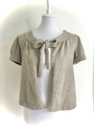 Cárdigan de manga corta gris claro-beige lana merina