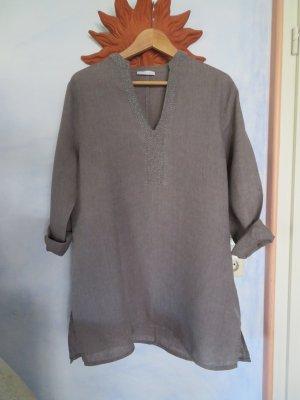 GC Fontana wunderbare 100% Leinen Tunika Perlenbesatz Long Bluse Kleid Gr. 44 L XL Steingrau neuwertig