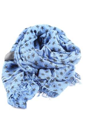 GCfontana Écharpe à franges bleu-noir imprimé allover style décontracté