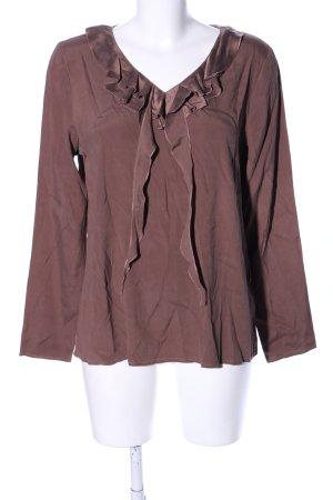 GCfontana Langarm-Bluse braun Business-Look