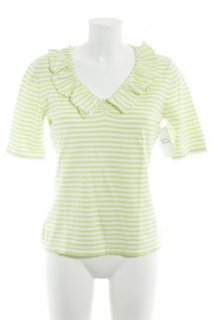 GCfontana Longsleeve weiß-neongrün Streifenmuster Casual-Look