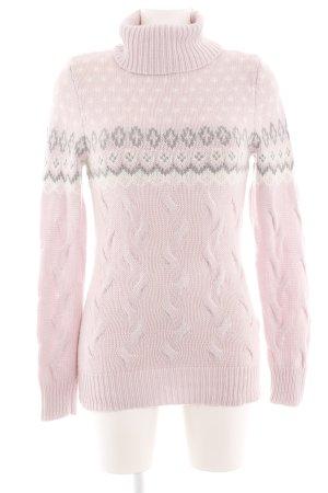 GCfontana Rollkragenpullover pink-wollweiß grafisches Muster Casual-Look