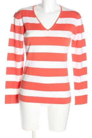 GCfontana V-Ausschnitt-Pullover rot-weiß Allover-Druck Casual-Look