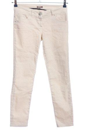 GDM Pantalon taille basse blanc cassé-noir imprimé allover style décontracté