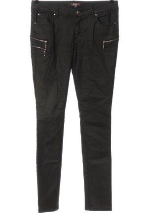 GDM Pantalon cigarette noir-argenté style décontracté
