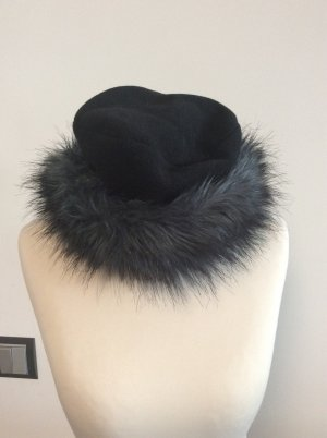 Gebeana Fur Hat black-silver-colored