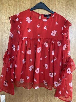 New Look Blusa de manga larga rojo ladrillo-blanco Poliéster