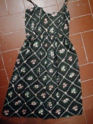 Geblümtes A-Linien Kleid mit Knöpfen