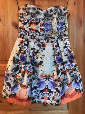 Asos Robe bandeau violet foncé-blanc cassé coton