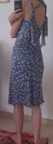 Cacharel Pinafore dress blue-magenta silk