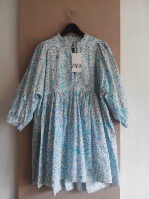 geblümtes kurzes Kleid mit Ballonärmeln, Größe M oversize, neu