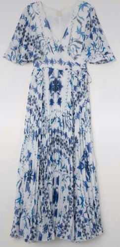 H&M Vestido cruzado blanco-azul