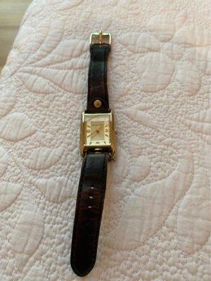 Michael Kors Zegarek ze skórzanym paskiem czarno-brązowy-złoto