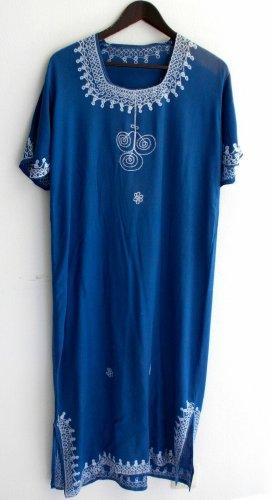 gebrauchtes Damen Kleid Tunikakleid Gr. 42 blau m. Stickerei TS547