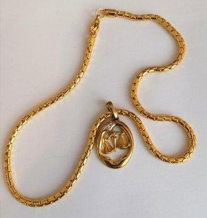 Geflochtene Halskette in Gold mit dem Sternzeichen Waage als Anhänger
