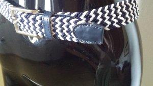 Cinturón trenzado blanco-azul oscuro fibra textil