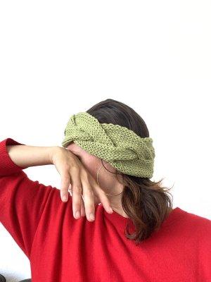 Geflochtenes Stirnband Wolle grün