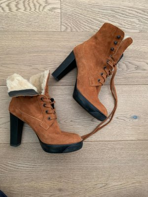 Hogan Lace-up Booties cognac-coloured-black