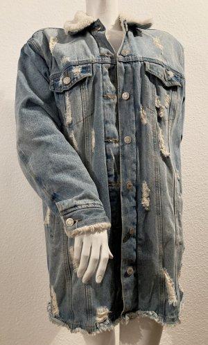 Gefütterte, lange Jeansjacke