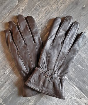 Gevoerde handschoenen bruin Leer
