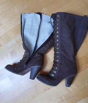 Graceland Botas de piel taupe-marrón claro