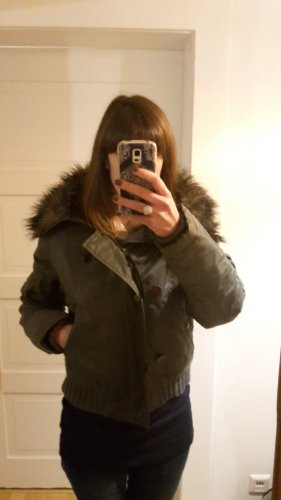 Gefütterte Winterjacke von Freesoul I XS I Khaki-Dunkelbraun