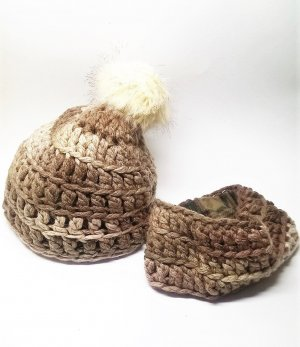 handmade unikat Crochet Cap light brown-brown alpaca wool