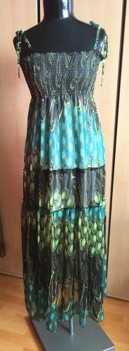 Gefüttertes Sommerkleid Trägerkleid Pfau Kleid von Gr.38