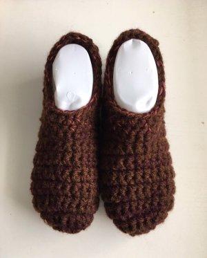 handmade Pantoufles-chaussette brun foncé