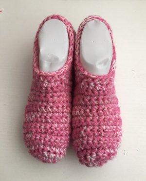 handmade Vilten sloffen wit-roze