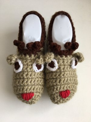 handmade Slipper Socks beige-dark brown