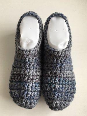 handmade Vilten sloffen grijs-blauw