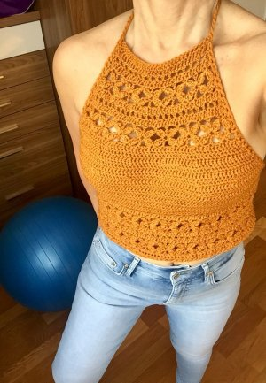 Selbstgehäkelter Crochet Top bronze-colored-light orange