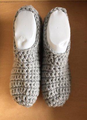 Handmade Pantoufles-chaussette gris clair