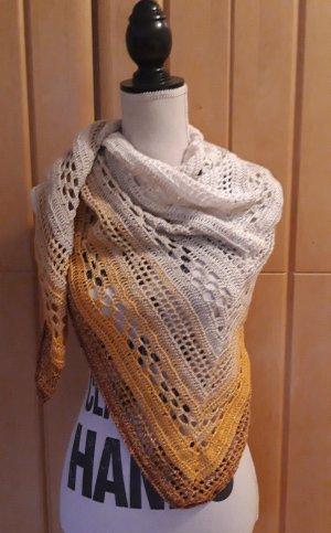 Bufanda de ganchillo color bronce-blanco puro