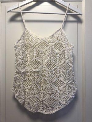 C&A Clockhouse Haut en crochet blanc cassé coton