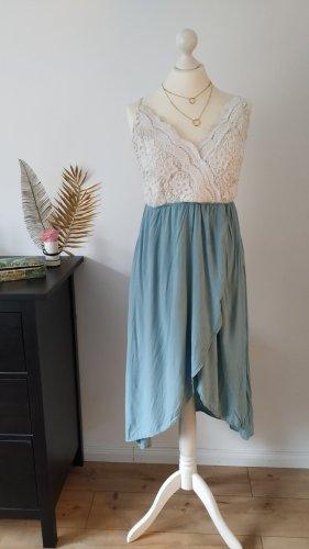 Review High Low Dress white-pale blue mixture fibre